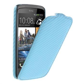 Image of HTC Desire 500 FlipCase Taske/Etui - Blå Carbon