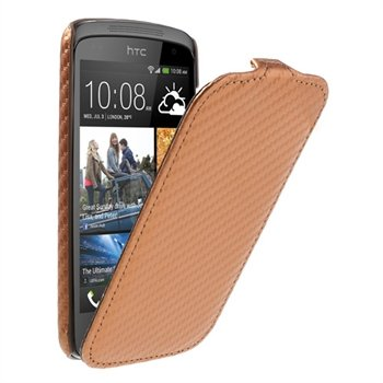 Image of HTC Desire 500 FlipCase Taske/Etui - Brun/Orange Carbon