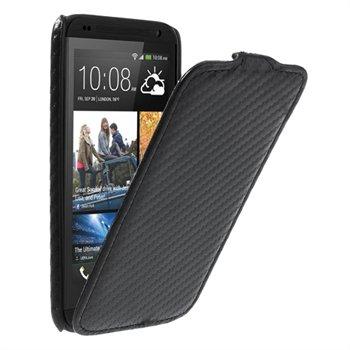 HTC Desire 601 FlipCase Taske/Etui - Sort Carbon