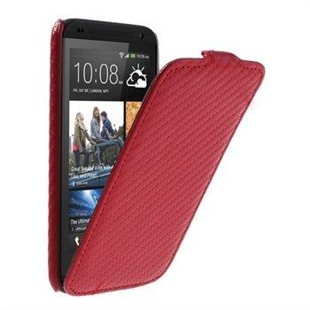 HTC Desire 601 FlipCase Taske/Etui - Rød Carbon