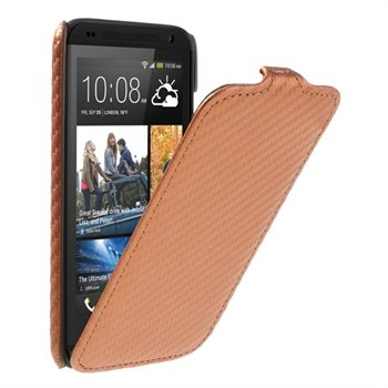 Image of HTC Desire 601 FlipCase Taske/Etui - Orange Carbon