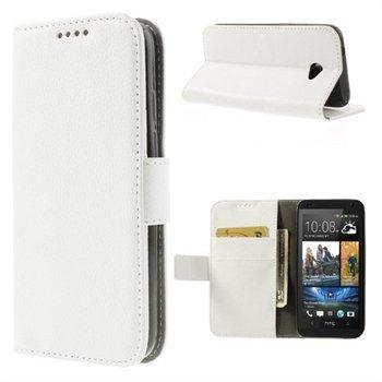 HTC Desire 601 Flip Cover Med Pung - Hvid