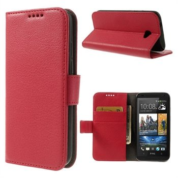 HTC Desire 601 Flip Cover Med Pung - Rød
