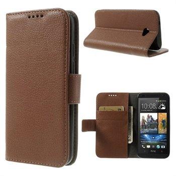 HTC Desire 601 Flip Cover Med Pung - Brun