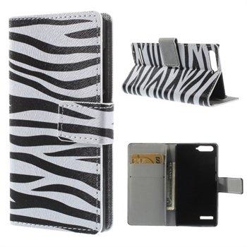 Image of Huawei Ascend G6 Design Flip Cover Med Pung - Zebra