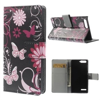 Image of Huawei Ascend G6 Design Flip Cover Med Pung - Butterfly Flowers