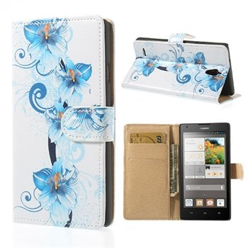 Image of Huawei Ascend G700 FlipStand Taske/Etui - Blue Flowers