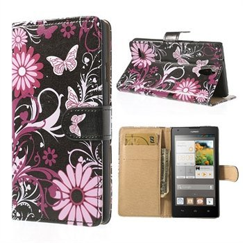 Image of Huawei Ascend G700 FlipStand Taske/Etui - Butterfly & Flower