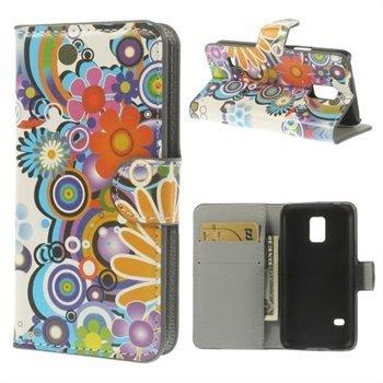 Billede af Samsung Galaxy S5 Mini Design Flip Cover Med Pung - Flower Power
