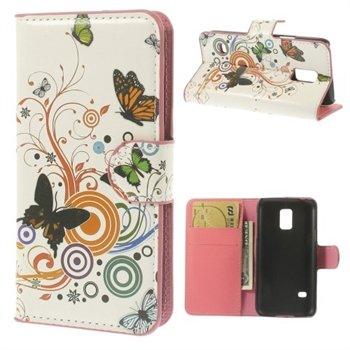 Billede af Samsung Galaxy S5 Mini Design Flip Cover Med Pung - Vivid Butterflies