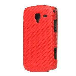Image of Samsung Galaxy Ace 2 taske/etui med flip lukning - rød carbon