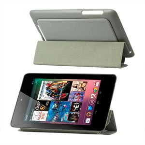 Image of Smart cover i kunstlæder med indbygget stand til Google Nexus 7 - grå