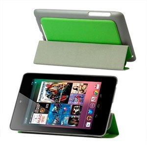 Image of Smart cover i kunstlæder med indbygget stand til Google Nexus 7 - grøn