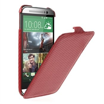 Image of   HTC One M8 Carbon Flip Cover - Rød