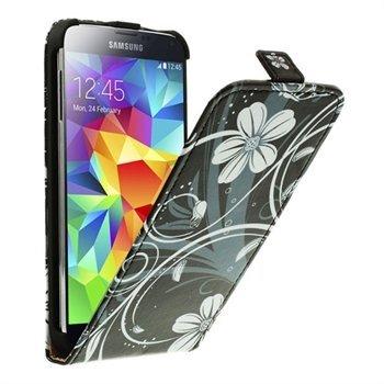 Billede af Samsung Galaxy S5/S5 Neo Flip Cover - Grey Flowers