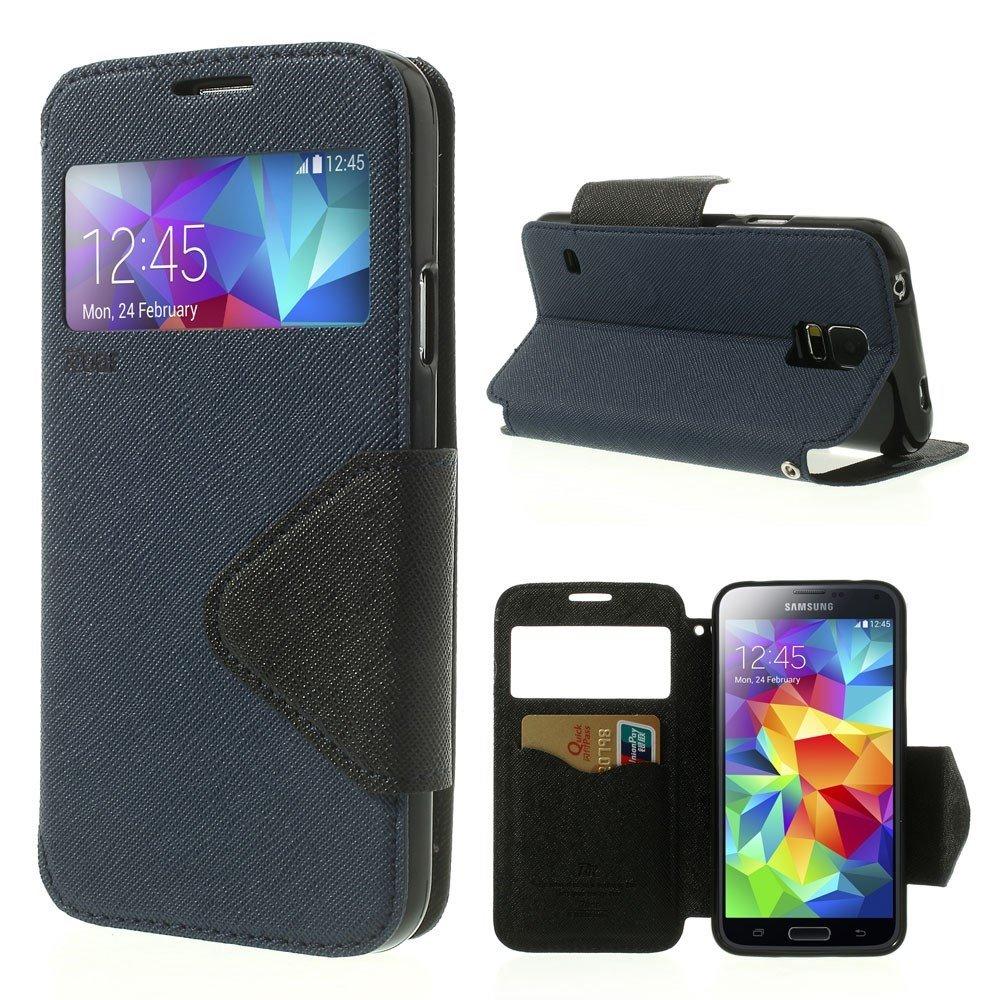 Billede af Samsung Galaxy S5/S5 Neo S-View Flip Cover - Mørk Blå