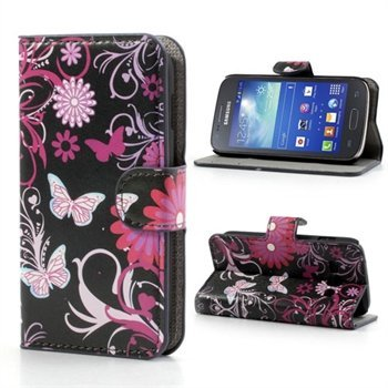 Image of Samsung Galaxy Ace 3 FlipStand Taske/Etui - Black Butterfly