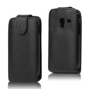 Image of Samsung Galaxy Ace Plus taske/etui med fliplukning - sort