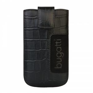 Image of   Bugatti Slimcase Leather Croco luksus mobiltaske/etui - sort læder