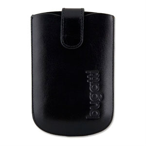 Image of   Bugatti Slimcase Leather luksus mobiltaske/etui - sort læder