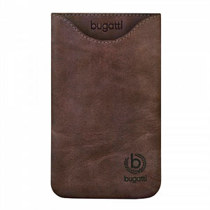 Image of   Bugatti Skinny Umber Leather luksus mobiltaske/etui - brun læder
