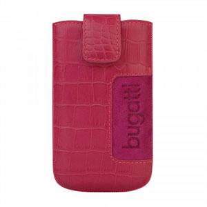 Bugatti Slimcase Leather Croco luksus mobiltaske/etui - pink læder